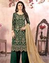 image of Green Color Embroidered Georgette Fabric Party Wear Palazzo Salwar Kameez