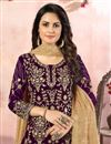 photo of Embroidery Designs Purple Color Georgette Fabric Function Wear Palazzo Salwar Suit