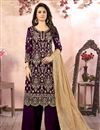 image of Embroidery Designs Purple Color Georgette Fabric Function Wear Palazzo Salwar Suit