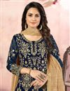 photo of Embroidered Georgette Fabric Navy Blue Color Function Wear Palazzo Suit