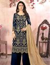 image of Embroidered Georgette Fabric Navy Blue Color Function Wear Palazzo Suit