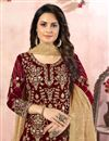 photo of Georgette Fabric Maroon Color Function Wear Palazzo Salwar Kameez