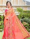 image of Occasion Wear Art Silk Fabric Saree In Pink Color With Embroidered Border And Blouse