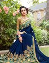 photo of Embroidered Border And Blouse With Cotton Silk Fabric Navy Blue Color Function Wear Saree