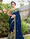 image of Embroidered Border And Blouse With Cotton Silk Fabric Navy Blue Color Function Wear Saree