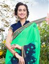 photo of Light Teal Color Art Silk And Georgette Fabric Designer Saree With Embroidered Border And Blouse