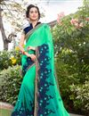 image of Light Teal Color Art Silk And Georgette Fabric Designer Saree With Embroidered Border And Blouse