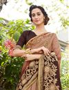 photo of Embroidery Work On Art Silk And Georgette Fabric Designer Saree In Brown Color