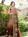 image of Embroidery Work On Art Silk And Georgette Fabric Designer Saree In Brown Color