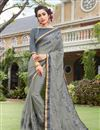image of Grey Color Party Wear Saree In Art Silk And Georgette Fabric With Embroidery Work