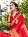 photo of Art Silk And Georgette Fabric Red Color Festive Wear Saree With Embroidery Work