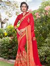 image of Art Silk And Georgette Fabric Red Color Festive Wear Saree With Embroidery Work
