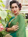 photo of Designer Party Wear Saree In Art Silk And Georgette Fabric Green Color With Embroidery Work