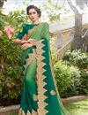 image of Designer Party Wear Saree In Art Silk And Georgette Fabric Green Color With Embroidery Work