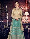 image of Art Silk Fabric Dark Teal Color Festive Wear Anarkali Salwar Kameez With Embroidery Work