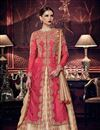 image of Festive Wear Anarkali Salwar Suit In Crimson Color Art Silk Fabric