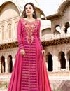 image of Cotton Fancy Party Wear Rani Anarkali Dress
