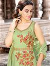 photo of Party Wear Cotton Fennel Green Fancy Anarkali Dress With Work