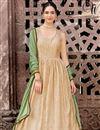photo of Dark Green And Cream Anarkali Salwar Suit With Fancy Work