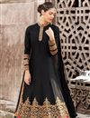 photo of Satin Black Fancy Embroidered Anarkali Salwar Suit