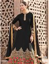 image of Satin Black Fancy Embroidered Anarkali Salwar Suit
