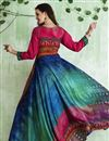 photo of Designer Multi Color Readymade Printed Gown In Art Silk