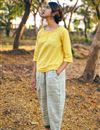 image of Khadi Fabric Party Wear Readymade Indowestern Dress In Yellow