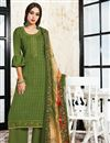 image of Green Embroidered Festive Wear Palazzo Suit In Satin