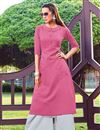 image of Pink Party Wear Cotton Fabric Designer Kurti With Palazzo