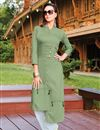 image of Cotton Fabric Green Fancy Office Party Style Kurti With Bottom