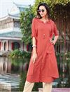 image of Function Wear Peach Kurti In Cotton Fabric With Bottom