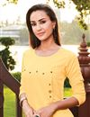photo of Yellow Party Wear Cotton Fabric Fancy Kurti With Palazzo