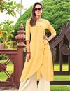 image of Yellow Party Wear Cotton Fabric Fancy Kurti With Palazzo