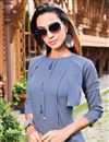 photo of Party Wear Blue Color Cotton Fabric Fancy Kurti With Palazzo
