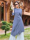 image of Party Wear Blue Color Cotton Fabric Fancy Kurti With Palazzo