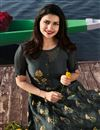photo of Prachi Desai Grey Georgette And Satin Long Printed Kurti With Embroidery Work