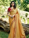image of Prachi Desai Embroidery Work On Mustard Art Silk Party Wear Saree