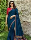 image of Prachi Desai Art Silk Navy Blue Function Wear Saree With Embroidery Design