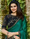 photo of Prachi Desai Embroidery Work On Teal Designer Saree In Art Silk Fabric