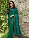 image of Prachi Desai Embroidery Work On Teal Designer Saree In Art Silk Fabric