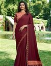 image of Prachi Desai Art Silk Maroon Occasion Wear Saree With Embroidery Work