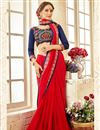 image of Fancy Georgette Red Party Wear Saree With Work