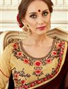 photo of Georgette Party Wear Brown Saree With Embroidery