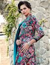 photo of Printed Party Wear Satin Fabric Multi Color Fancy Indo Western Kurti