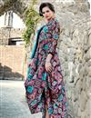 image of Printed Party Wear Satin Fabric Multi Color Fancy Indo Western Kurti