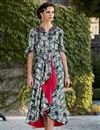 image of Printed Satin Fabric Multi Color Fancy Party Wear Indo Western Kurti