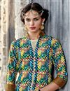 photo of Function Wear Multi Color Printed Indo Western Kurti In Satin Fabric