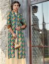 image of Function Wear Multi Color Printed Indo Western Kurti In Satin Fabric