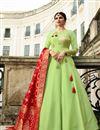 image of Prachi Desai Wedding Wear Designer Gown In Art Silk With Banarasi Silk Dupatta