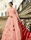 image of Prachi Desai Pink Wedding Wear Art Silk Designer Gown With Banarasi Silk Dupatta